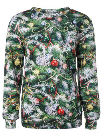 Outfits Christmas Tree 3D Print Pullover Sweatshirt - ONE SIZE GREEN Mobile