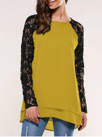 Lace Splicing Blouse - Ginger - L