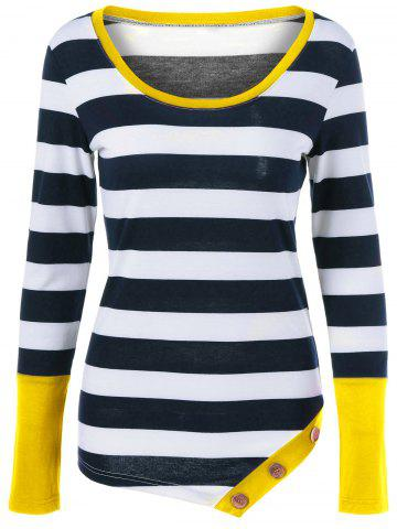 Fashion Button Embellished Asymmetric Long Sleeve Striped T-Shirt