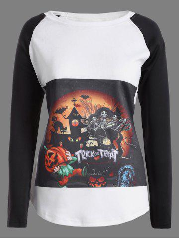 New Raglan Sleeves Pumpkin Skull Print Halloween T-Shirt WHITE AND BLACK 5XL