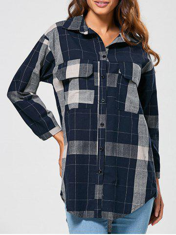 Affordable Checked Vintage Linen Shirt BLUE XL