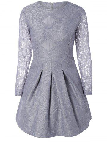 Trendy Embroidered Long Sleeve Lace A-Line Dress LIGHT GRAY L