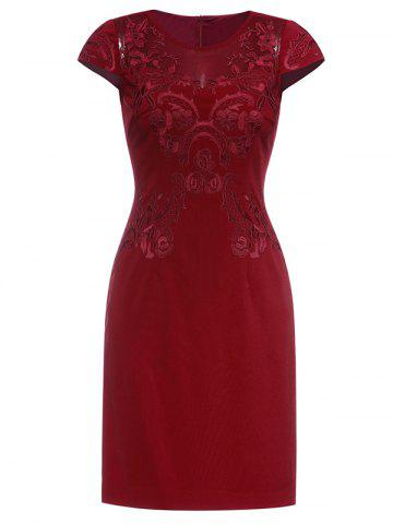 Chic Embroidered Vintage Dress WINE RED 3XL