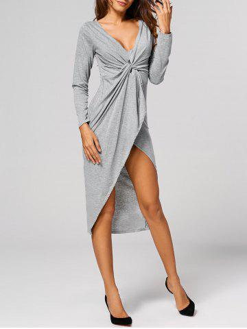 New Asymmetric Formal Wrap Draped Dress GRAY XL