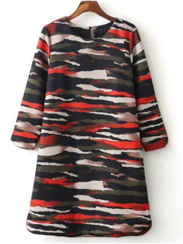 Loose Camo Printed  Dress - COLORMIX L