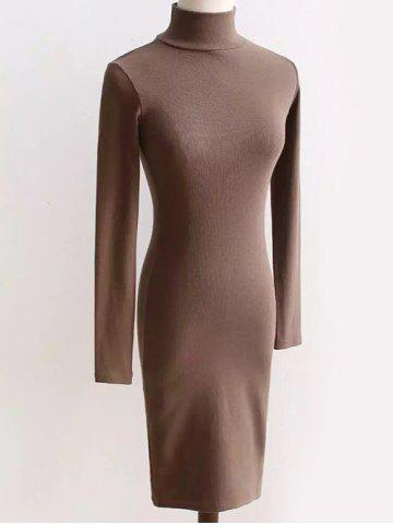 Discount Long Sleeve Turtleneck Tight Dress