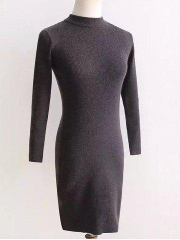 Long Sleeve Fit Knitted Pencil Dress - GRAY ONE SIZE
