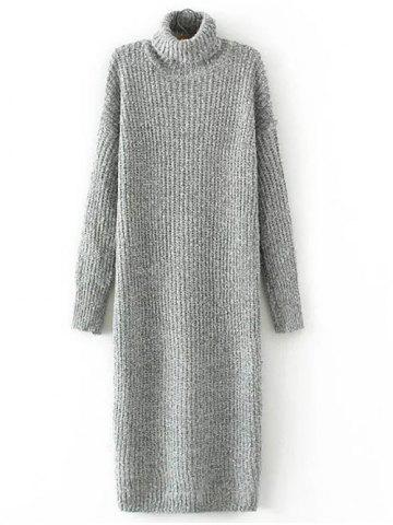 Turtle Neck Long Jumper Dress with Sleeves - Gray - One Size
