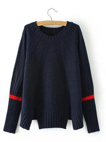 Sale Vintage Slit Ribbed Knitted  Sweater