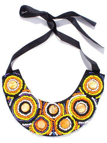 Buy Faux Stone Beaded Circle Ribbon Bib Necklace