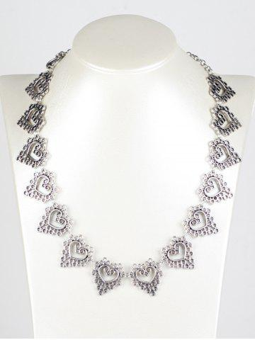Outfit Hollowed Heart Metal Necklace SILVER