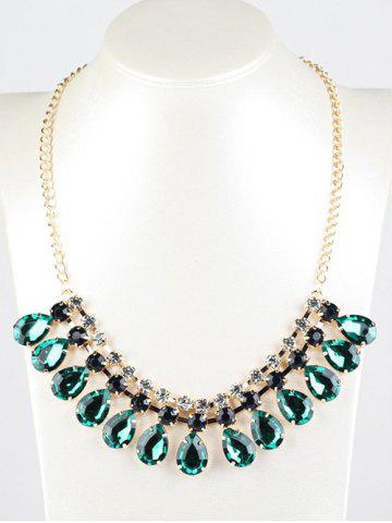 Latest Rhinestone Faux Emerald Teardrop Necklace DEEP GREEN