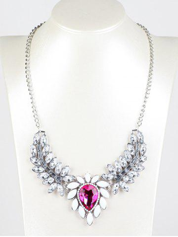 Chic Faux Crystal Wings Pendant Necklace RED
