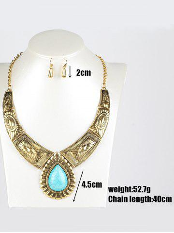 New Faux Turquoise Water Drop Jewelry Set - GOLDEN  Mobile