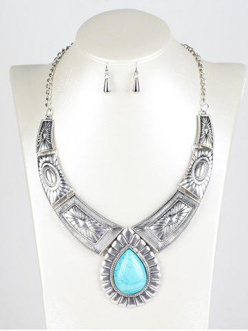 Sale Faux Turquoise Water Drop Jewelry Set - SILVER  Mobile