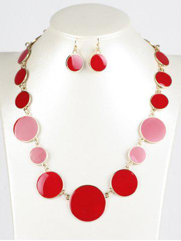 Faux Gem ronde Ensemble de bijoux Rouge