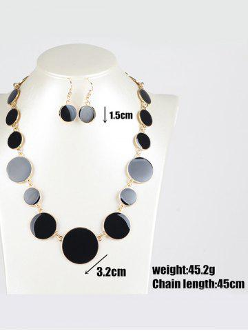 Fashion Faux Gem Round Jewelry Set - BLACK  Mobile