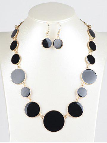 Unique Faux Gem Round Jewelry Set - BLACK  Mobile