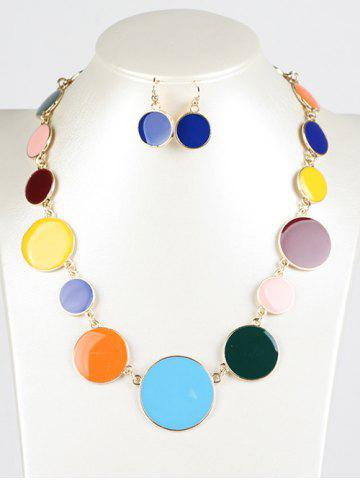 Latest Faux Gem Round Jewelry Set COLORMIX