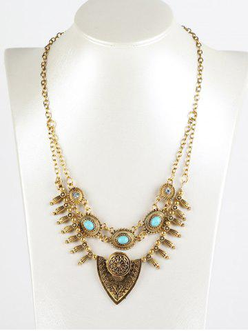Affordable Faux Turquoise Layered Shield Necklace GOLDEN