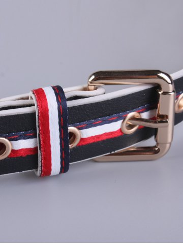 Online PU Multi Color Stripy Pin Buckle Belt - BLACK  Mobile