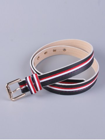 PU Multi Color Stripy Pin Buckle Belt - BLACK