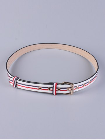 Online PU Multi Color Stripy Pin Buckle Belt - WHITE  Mobile