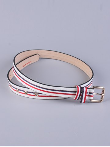 Sale PU Multi Color Stripy Pin Buckle Belt - WHITE  Mobile