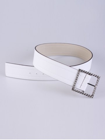 Outfit Coat Wear Hollow Twist Square Pin Buckle Belt - WHITE  Mobile