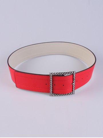 Outfit Coat Wear Hollow Twist Square Pin Buckle Belt - RED  Mobile