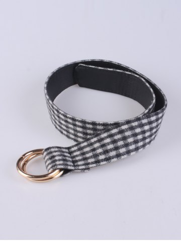 Affordable Coat Wear Wool Plaid Pattern Round Buckle Belt