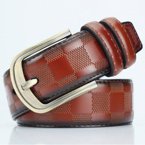 Cheap Casual Pin Buckle PU Plaid Belt