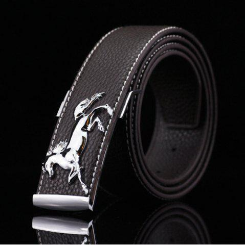 Chic Polished Horse Hidden Pin Buckle PU Belt - COFFEE  Mobile