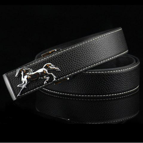 Outfit Polished Horse Hidden Pin Buckle PU Belt - BLACK  Mobile