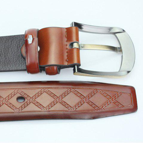 Unique Casual Pin Buckle PU Cirss Cross Emboss Belt - GOLD BROWN  Mobile