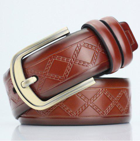 Casual Pin Buckle PU Cirss Cross Emboss Belt - Gold Brown - 38