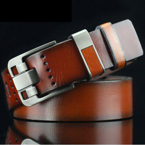 Casual Pin Buckle PU Geometric Emboss Belt - Sugar Honey - 38