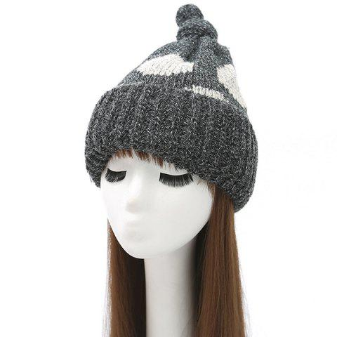 Buy Knot Top Flanging Dot Print Knitted Beanie BLACK