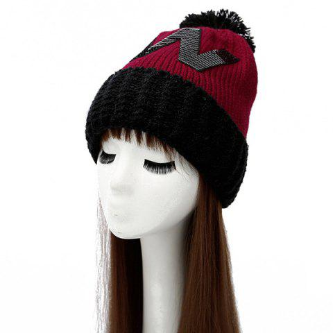 New Warm Letter W Flanging Big Ball Knitted Beanie DEEP RED