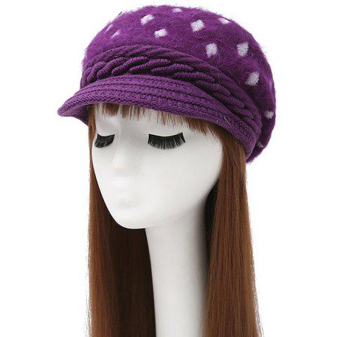 Outfits Warm Rhombus Pattern Twist Knitted Beret VIOLET