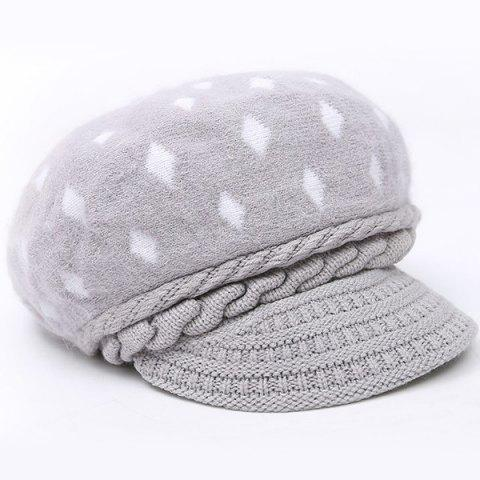 Warm Rhombus Pattern Twist Knitted Beret - Light Gray - One Size(fit Size Xs To M)