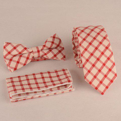 Fancy Gingham Print Tie Pocket Square and Bow Tie