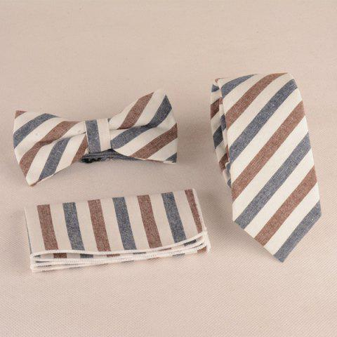 Stripe Print Tie Pocket Square and Bow Tie - Distant Blue - Xl