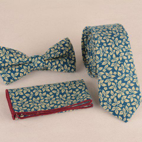 Shops Leaf Print Tie Pocket Square and Bow Tie WATER BLUE