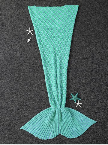 Online Knitted Rhombus Design Mermaid Tail Blanket LIGHT GREEN