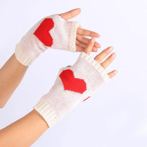 Outfits Pair of Heart Knitted Fingerless Gloves