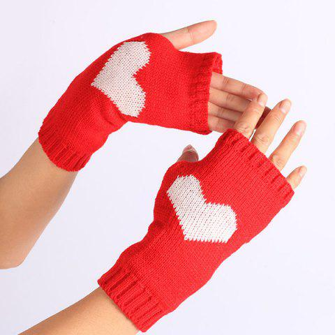 Hot Pair of Heart Knitted Fingerless Gloves - RED  Mobile