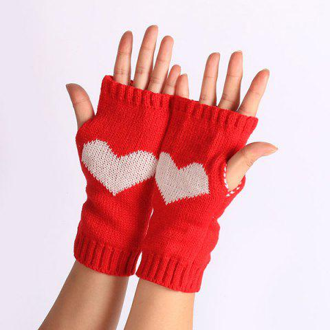Best Pair of Heart Knitted Fingerless Gloves - RED  Mobile