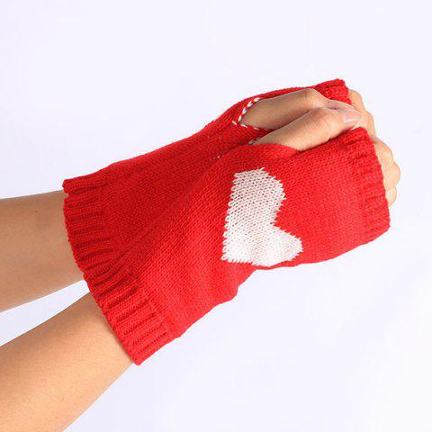 Outfit Pair of Heart Knitted Fingerless Gloves - RED  Mobile