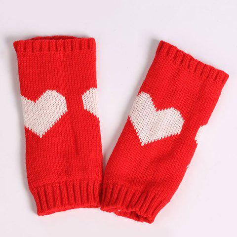 Shops Pair of Heart Knitted Fingerless Gloves - RED  Mobile